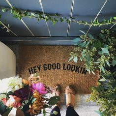 Where to Find The Cutest Doormats Ever: Hey Good Lookin\' Doormat. Click through for the details. | glitterinc.com | Glitter, Inc.