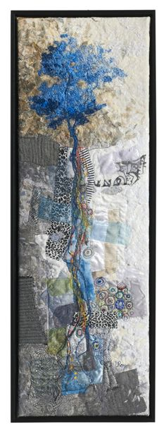 BLUE ROOTS 2009 30X10″ by Lorraine Roy | textile artist.  An early version from her Fertile Ground series.