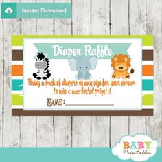 Jungle Theme Baby Shower Diaper Raffle Tickets. #babyprintables