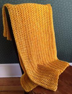 CROCHET BULKY handmade afghan blanket throw toddler adult acrylic wool YELLOW  #handmade #homespun