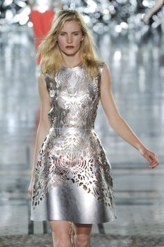 GILES Spring 2012 Silver Laser Cut Cocktail Dress