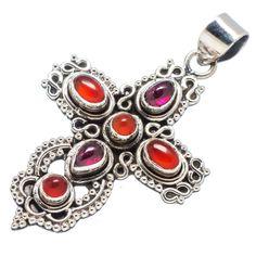 "Garnet, Red Onyx Cross 925 Sterling Silver Pendant 2"" PD529735"