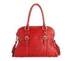 Dooney & Bourke Womens Florentine Domed Buckle Satchel Handbag Red