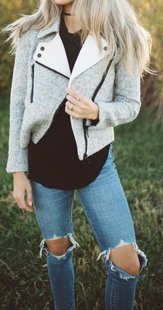 #fall #outfits Grey Tweed Jacket // Black Blouse // Destroyed Jeans