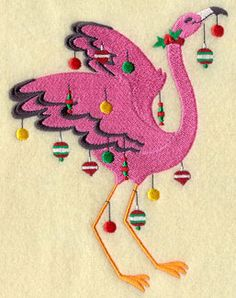 A Christmas flamingo decorated with Christmas ornaments.