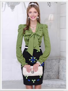 Morpheus Boutique  - Green Bow Floral Ruffle Long Sleeve Celebrity Shirt, $79.99 (http://www.morpheusboutique.com/green-bow-floral-ruffle-long-sleeve-celebrity-shirt/)