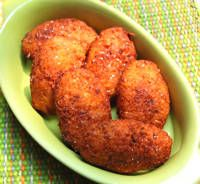 Muchines de Yuca - Ecuadorian Yuca Fritters - used queso fresco for filling and adobo and garlic powder instead of Goya