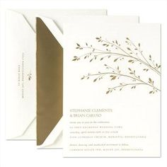 The delicate lines, impeccably placed by Crane & Co. on these GORGEOUS engraved wedding invitations makes a bright metallic like gold actually feel fresh and organic.