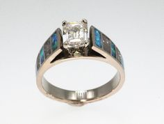 Diamond Ring - Cathedral Style 14K White Gold with Inlays of Opal and  Meteorite - Perfect Engagement Band BLUE OPAL MY FAVORITE!!