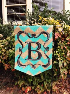 Burlap+Garden+Flag+with+Teal+Chevron+and+Black+by+ModernRusticGirl,+$20.00