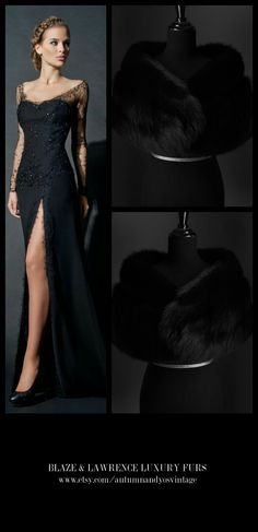 Stay luxuriously warm……..……...https://www.etsy.com/shop/AutumnandYosVintage?ref=hdr_shop_menu….#luxury #luxurylife #luxe #fashion #style #trend #gown #dress #fur #mink #fox #classic #gift #wedding #bridal #redcarpet #blacktie #luxury #LuxuryGowns + #LuxuryFurs = #PerfectCombination…….GET THIS LOOK: Blaze & Lawrence Luxury Fur Stole