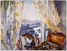 'View from a Window, Genoa', c1911. This fresh, bright but uncharacteristically personal watercolour shows the view from Sargent's hotel in Genoa, Italy.British Museum, London, Great Britain