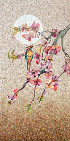Panels Mosaic bird on a branch || idea... paint birds and flowers on cork boards to sell?