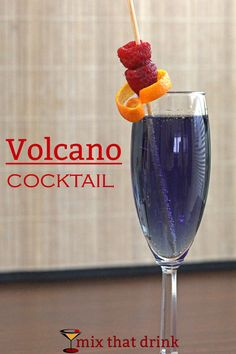 The Volcano is one delicious champagne cocktail. It blends the flavor of raspberry liqueur and the orange taste of curacao with champagne for a pure alcohol treat. A great way to use leftover champagne.