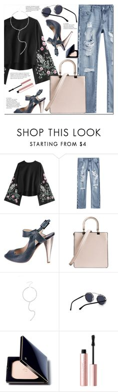 """Flare Sleeve Floral Embroidered Sweatshirt"" by duma-duma ❤ liked on Polyvore featuring Nicholas Kirkwood, Clé de Peau Beauté and Too Faced Cosmetics"