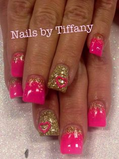 Acrylic nails by Tiffany.....these are awesome I think I'll do something fun like that next!