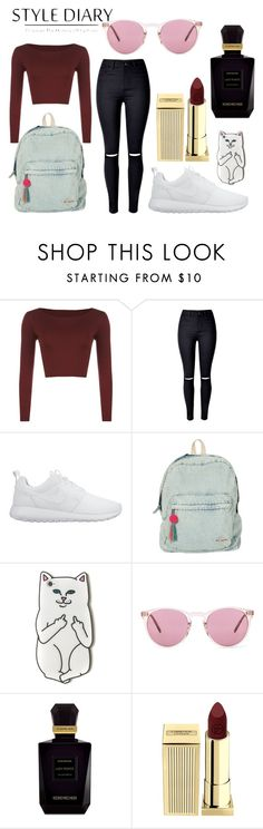 spring mood by laura-simulcikova on Polyvore featuring WearAll, WithChic, NIKE, Billabong, Oliver Peoples, Lipstick Queen and Keiko Mecheri