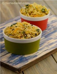Flavourful rice with vitamin-rich carrots and iron-rich spinach, this is ideal for packing in a lunch box. Butter adds to the goodness of this easy-to-make rice, while the vegetarian seasoning cubes impart an irresistible aroma typical of noodle and pasta preparations that kids enjoy so much!