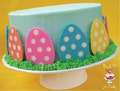 Polka Dot Easter Egg Cake...with tutorial! bird on a cake