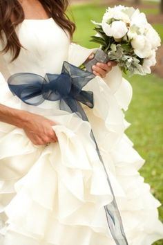 Jr Bridesmaids in white with blue bow