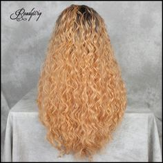 Water wave long orange synthetic wig Click to see more. #wig #haircolor #curlyhair