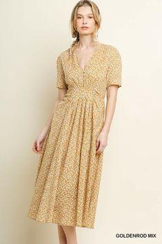 easel V neck button down short sleeve maxi dress