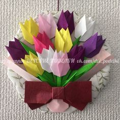Welcome April.have a beautiful month my dear origami Maniacs. Gato Origami, Origami 3d, Origami And Quilling, Origami Paper Art, Origami Fish, Kirigami, Origami Wreath, Origami Bouquet, Easy Paper Crafts
