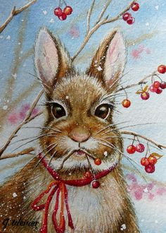 ACEO Limited Edition Print Winter Bunny Rabbit Snow ~ Jean Weiner