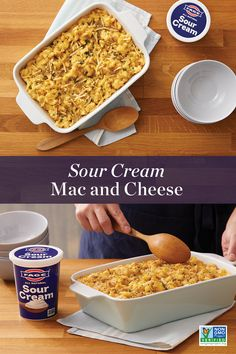 Macaroni Cheese Recipes, Mac And Cheese, Side Dish Recipes, Recipes Dinner, Dinner Side Dishes, Baked Mac, Casserole Dishes, No Cook Meals, Sour Cream