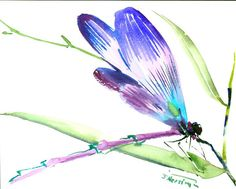 Dragonfly 8 X 10 in turquoise violet watercolor art by ORIGINALONLY on Etsy