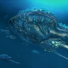 digital concept art for the reefback creature from subnautica, the thing i like about this piece of artwork is how the artist used the deep blues and light greens to show a sense of scale with the creature being large and living deep under the sea.