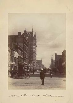 Elizabeth Street #Melbourne looking north from Flinders, late 19th century. The Australian (APA) Building at Flinders Lane on L is currently the city's tallest structure (demolished 1980)