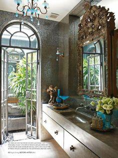 #interior #design #interiordesign {Silk drapery.} Ornate antique mirror in modern bathroom - Vogue Living