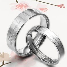 Handmade Groom Lord of Ring Elvish Matching Wedding Engagement Titanium Couple Rings Set Flat Comfort Fit. $116.00, via Etsy.