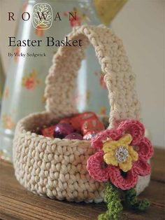 This beautiful crochet Easter basket with a beautiful flower detail is a great pattern suitable even for the beginner crocheter.