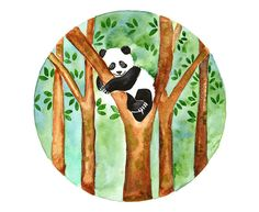 Panda Original watercolor painting Hand painted by bluepalette