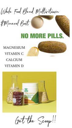 Whole Food Blend Multivitamin & Mineral Boost Magnesium Vitamin, Calcium Vitamins, Arbonne Nutrition, Health And Nutrition, Whole Food Vitamins, Arbonne Detox, Multivitamin Mineral, Pantothenic Acid, Gum Arabic