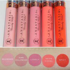 Liquid lipstick swatches #Anastasiabeverlyhills #liquidlips