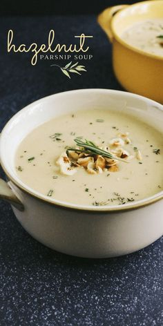 This Hazelnut Parsnip Soup is a delicious, creamy soup inspired by Disney's Tangled! It's Rapunzel's favorite soup, and soon it'll be yours, too! Creamy, vegetarian soup made with roasted acorn squash, caramelized leeks and shallot, parsnips, and hazelnuts.
