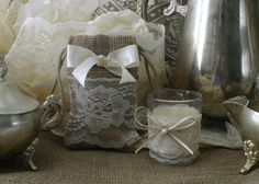 Burlap gift bags tea candle  favors for wedding and parties.