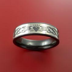 Black Zirconium Celtic Irish Claddagh Ring by StonebrookJewelry