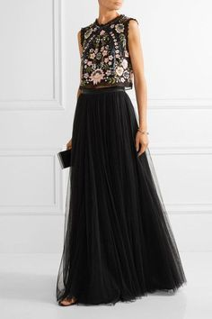 Black tulle Concealed zip fastening along back 100% nylon; lining: 100% polyester Dry clean Imported