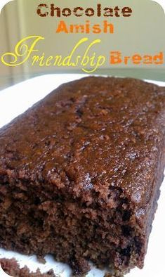 Authentic Life's Simple Measures: Chocolate Amish Friendship Bread Read More by icookdifferent Just Desserts, Delicious Desserts, Dessert Recipes, Yummy Food, Health Desserts, Amish Bread Starter, Friendship Bread Recipe With Starter, Amish Bread Recipes, Amish Sweet Bread Recipe