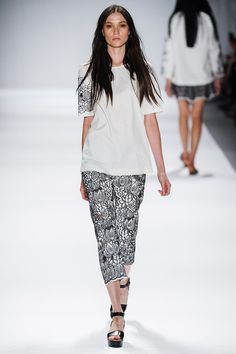 Vivienne Tam Spring 2014 Ready-to-Wear Collection Slideshow on Style.com - Black & White Line Work - Floral Outlines