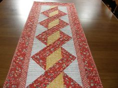 Yellow Red Gray Quilted Table Runner Year Round by HollysHutch