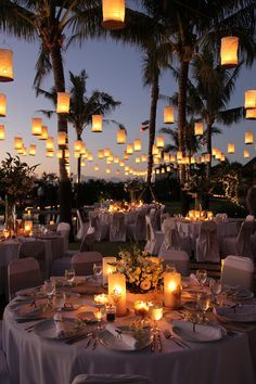 Outdoor Wedding Reception with Tons of Beautiful Lanterns! Why haven't I thought of this since I've always said I love Chinese/Japanese backyard lanterns? Wedding Goals, Wedding Themes, Our Wedding, Wedding Planning, Dream Wedding, Wedding Ideas, Destination Wedding Decor, Beach Wedding Reception, Wedding Venue Decorations