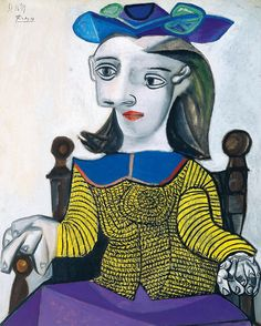 """Pablo Picasso: """"It takes a long time to become young."""" . 'The Yellow Pullover', 1939. Oil on canvas."""