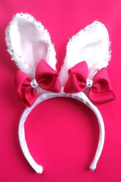 Easter Bunny Ears Headband with Pink by MissLittleBowtique on Etsy, $15.50