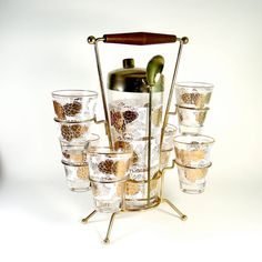 vintage cocktail shaker, glasses and caddy $40