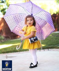 Wear an all-yellow ensemble and carry an umbrella, like morton salt girl! Great last minute Halloween costume idea for your kids!.